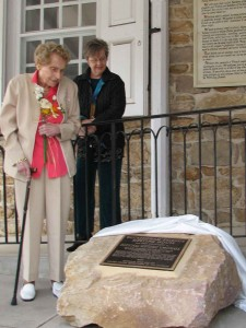 In April 2009, the late Margaret Bye Ritchie (left) and longtime member Pat Iyer admired the stone-cast plaque denoting Buckingham Quaker Meeting as a national historic landmark.