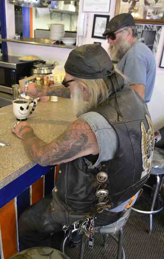 Motorcyclists are welcome at the Cutthroat Cafe.