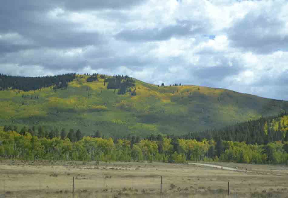 Colorful slopes highlight the landscape in Colorado's mountains.