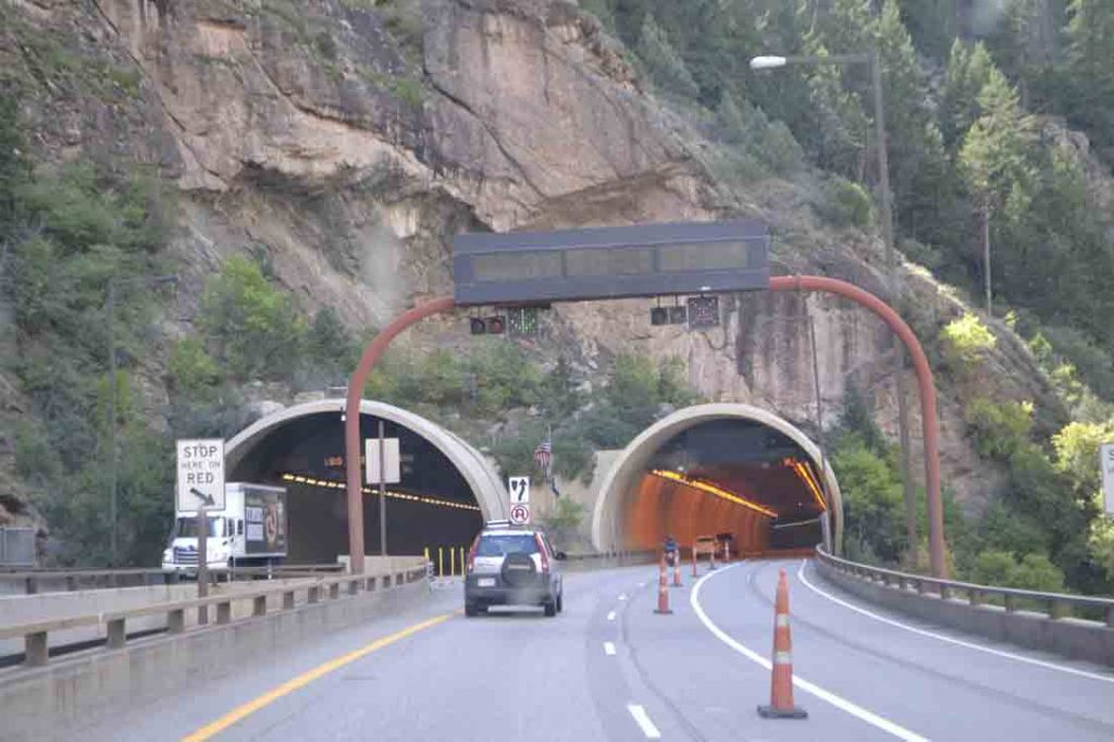 The 12.5-mile section of viaducts, bridges and tunnels along I-70 were opened in 1992.