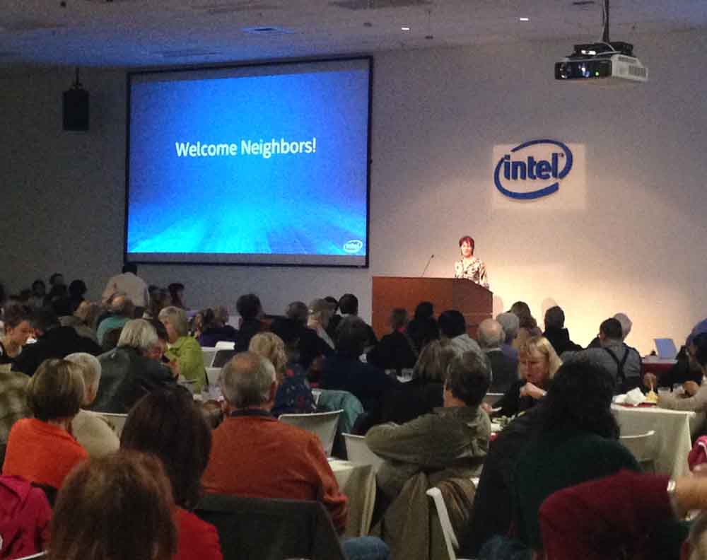 Annie Marie McSwiggen finds the holiday season a perfect time to give thanks to Intel's neighbors.