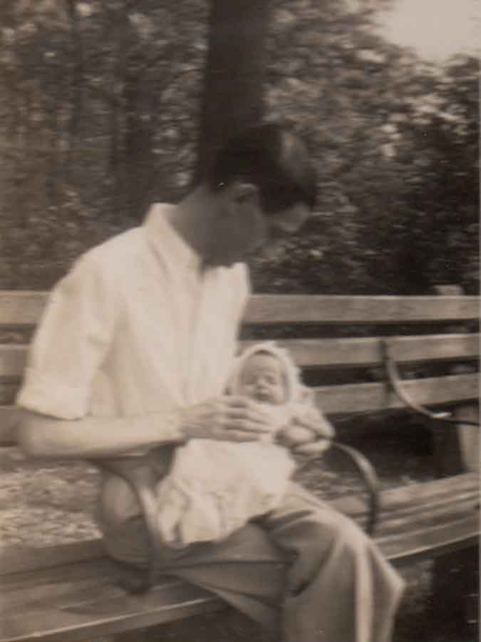 My father, Virgil, holding me in Central Park, NYC, during Spring, 1943.