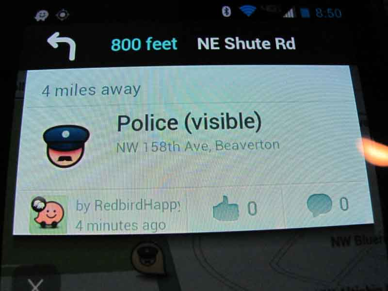 Waze reveals police presence on many highways.
