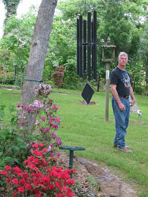 Chris Englert takes much pride in the appearance of his backyard in Nacogdoches, Texas.