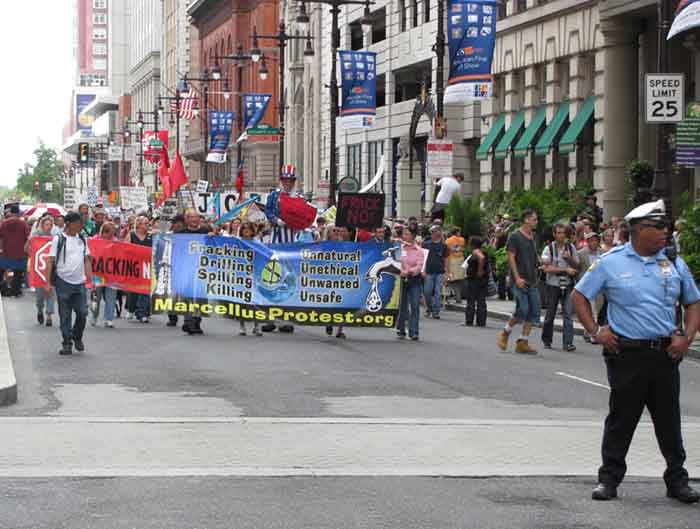 Hundreds of fracking opponents marched through Philadelphia's Center City in September 2011.