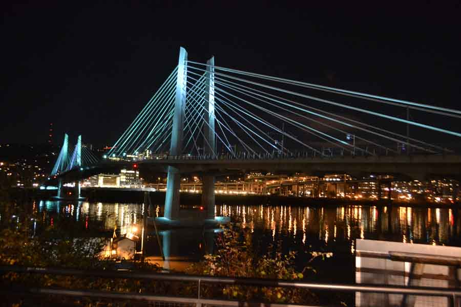 The view from Portland's light-rail Tilikum Crossing will change radically if the oil and gas industry has its way. Photograph by Alice McCormick.