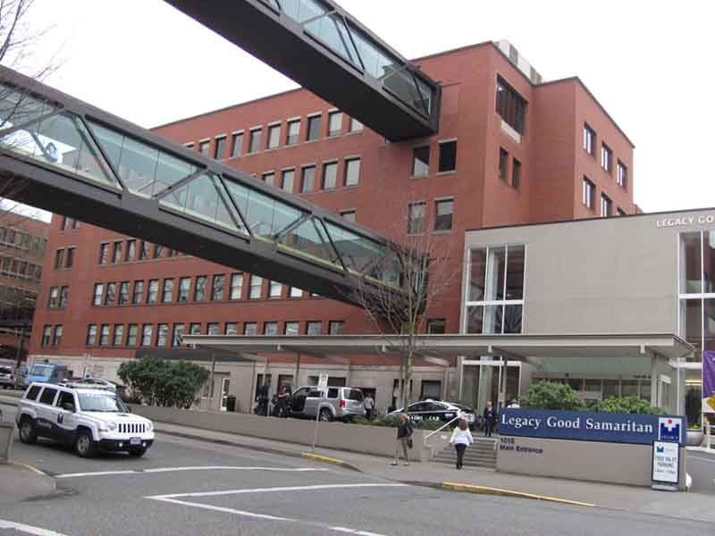 Legacy Good Samaritan Medical Center houses RIO's good work on its sixth floor.  Since Portland is not blemished by an overabundance of skyscrapers, the sixth-floor skywalk offers a panoramic view.