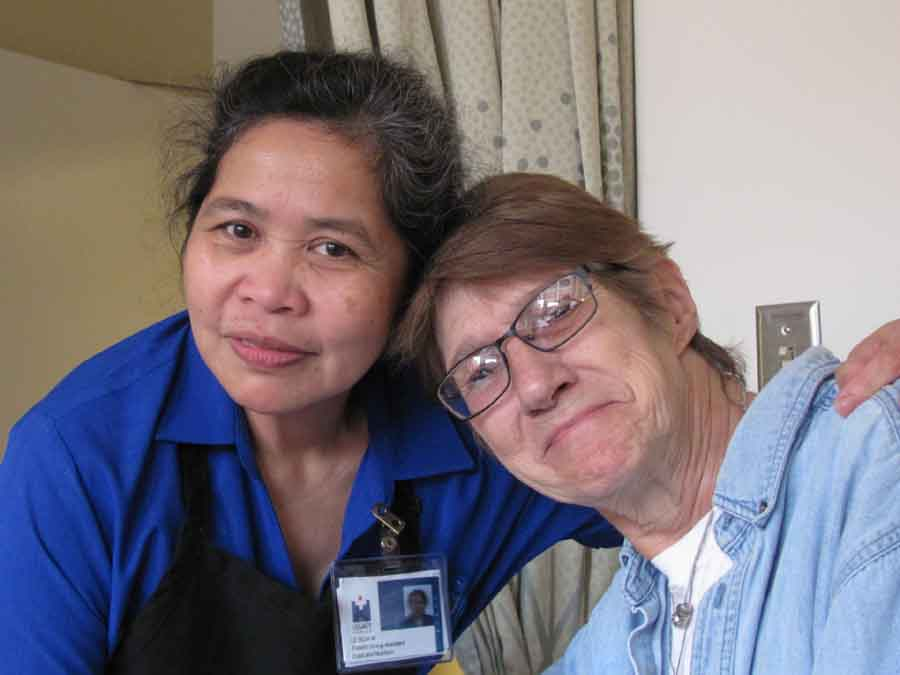 Food service specialist Leticia M's first language used to be Filipino.  Today, it's the speech of stroke patients.