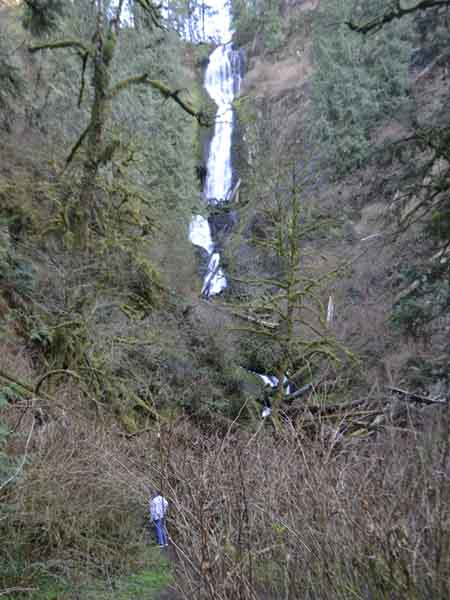 Eight miles south of Tillamook is a combination paved/gravel road leading to 266-foot-high Munson Creek Falls.  When we visited, the top of the trail was closed off due to a landslide.