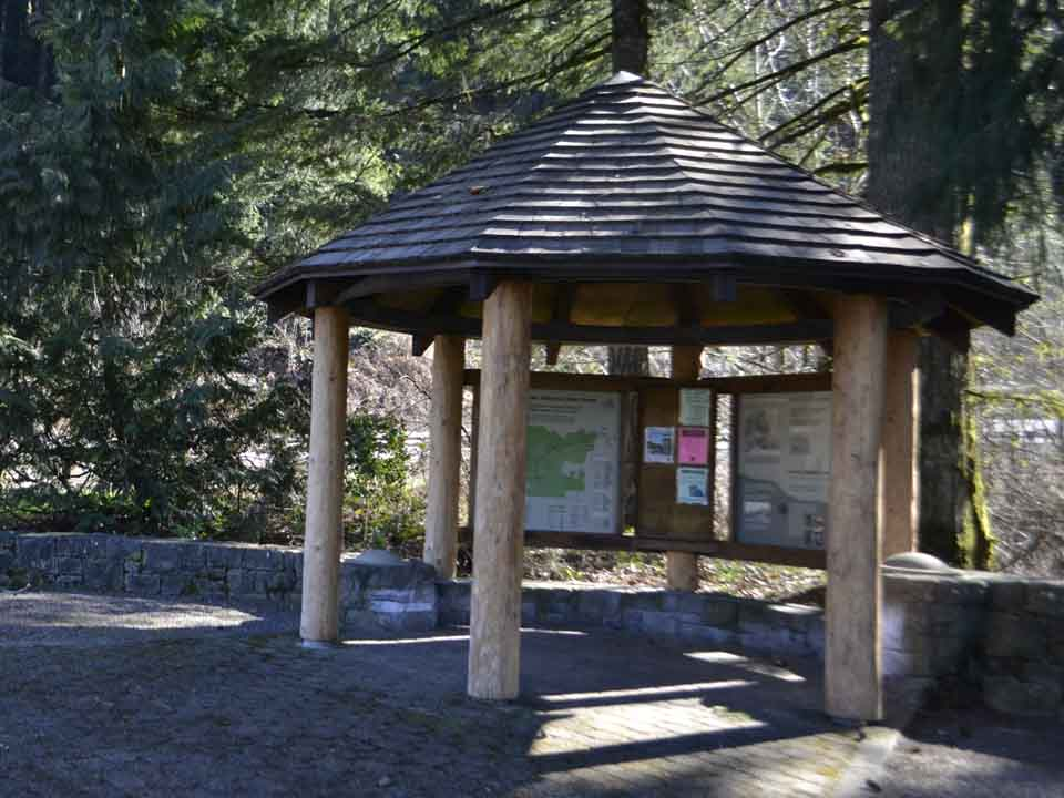 A wayside hut exhibits Tillamook State Forest's history.