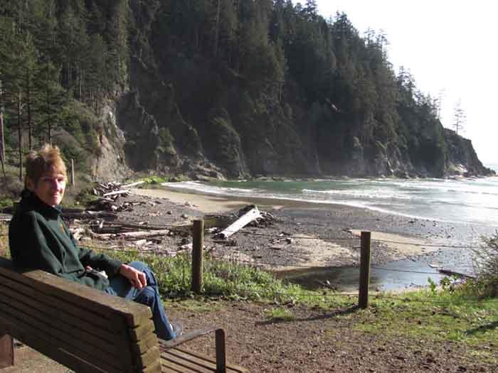 Alice revels in the splendor of Oregon's Oswald West State Park.