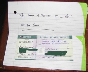 handwritten note and money order