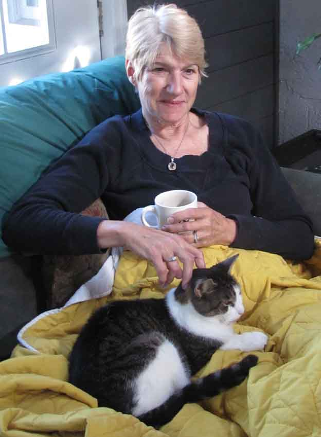 Alice stroking Josh, her Doylestown cat, in the summer of 2012.  When she is happy, EVERYBODY'S HAPPY.
