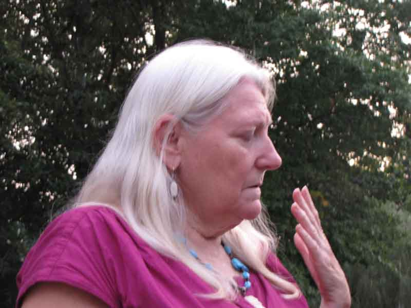 The late Danawa Buchanan, a Native Cherokee, led the ceremony with interfaith minister David DiPasquale.