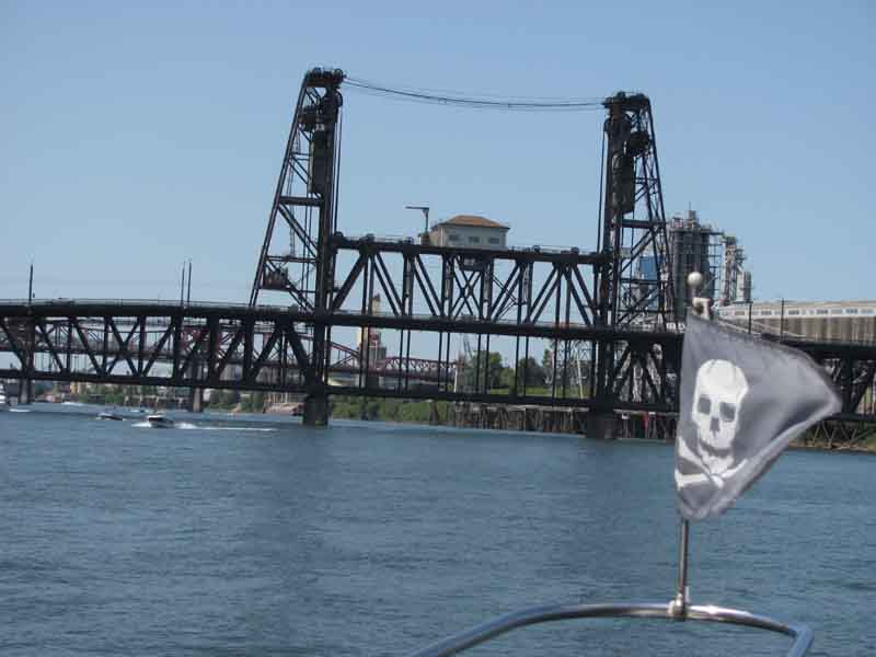 The Jolly Roger leads us to the Steel Bridge, built in 1912.