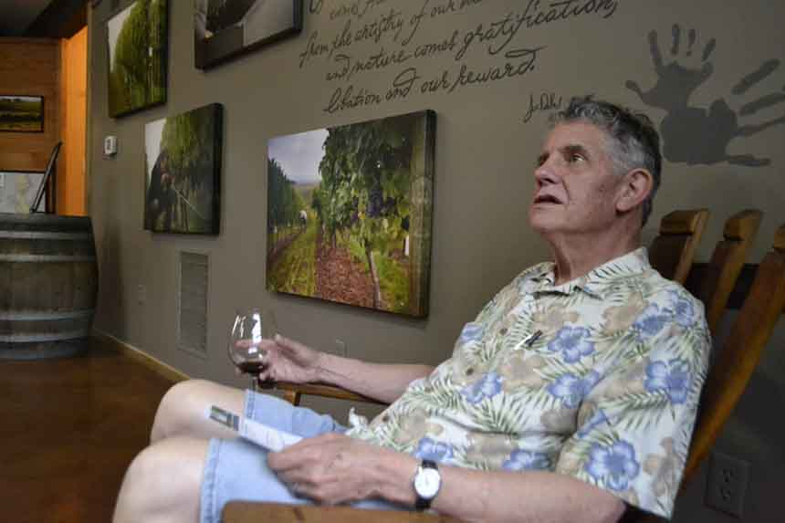 The rocking chair in Dobbes' Family Estate lends opportunity for an ideal pinot noir experience.