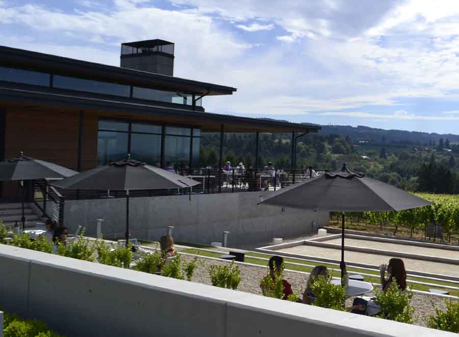 A comfortable sunny day tasting wine on Ponzi's patio.