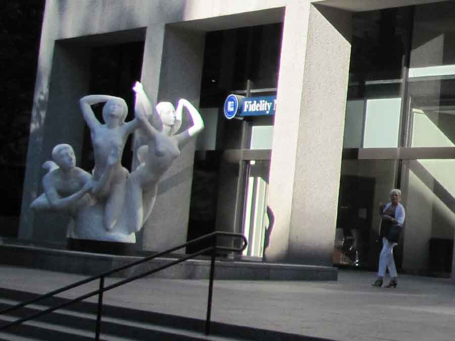 The Quest, an outdoor marble sculpture and fountain, was carved from a single 200-ton block of marble and situated in front of the Standard Insurance Company's building at 900 SW Fifth Avenue in Portland. The sculpture, carved in Italy from a single 200-ton block of white marble quarried in Greece, was installed in 1970. According to its artist, Count Alexander von Svoboda, the figures represent man's eternal search for brotherhood and enlightenment.