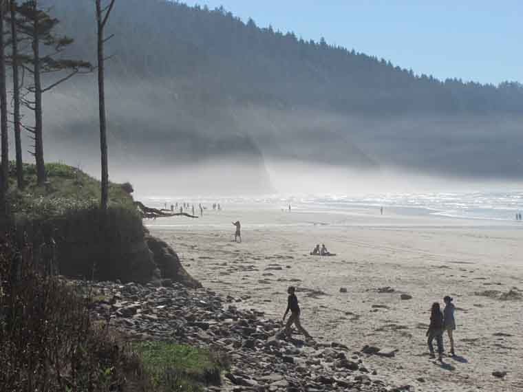 Mist hugging Cape Kiwanda creates surreal feeling in the middle of the afternoon.