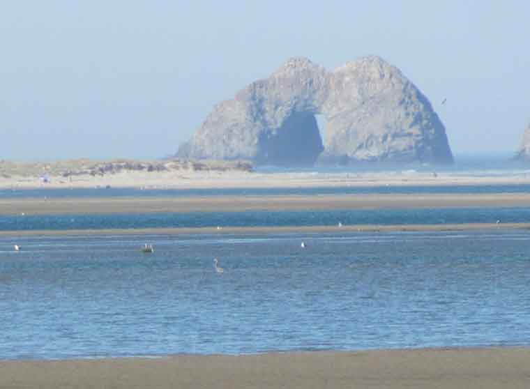 This imposing rock formation at Netarts Spit in Cape Lookout State Park allows the ocean to rush inside.