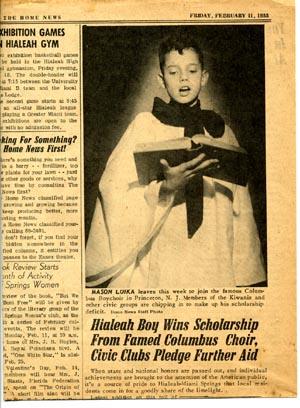 newspaper story about young Mason Loika