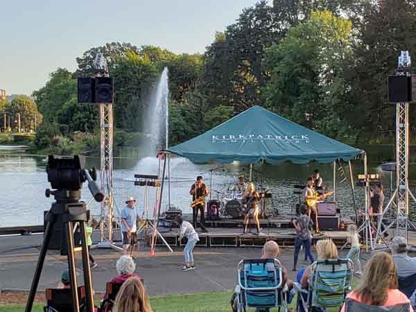 Serene lakeside concert